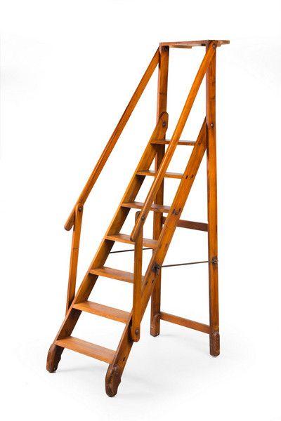 Early 20th Century Walnut Folding Library Steps Library Ladder Ladder Loft Ladder