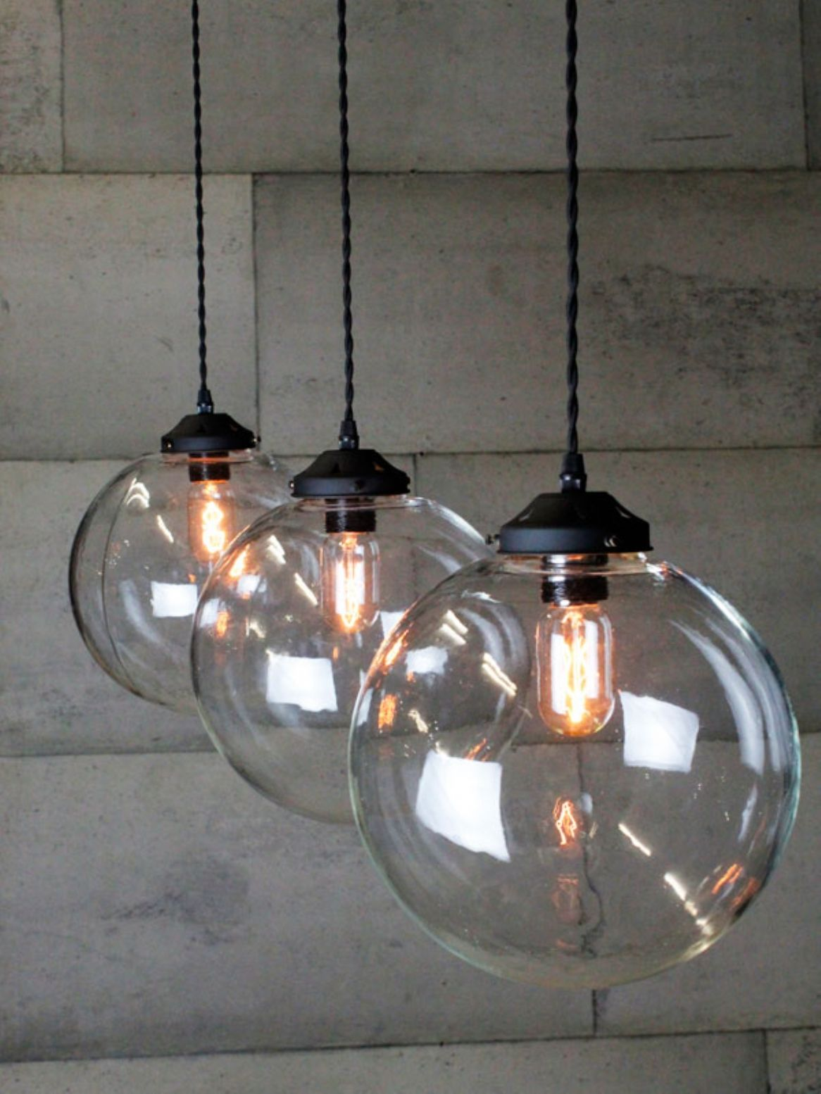 Triple Glass Globe Pendant Lighting - Globe pendant lights over island