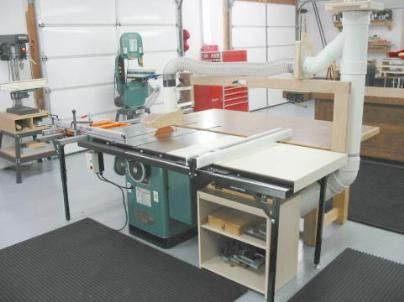 Cabinet underneath extension table holds table saw accessories ...