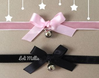 Kitty Bell Chokers Black by LoliMillie on Etsy