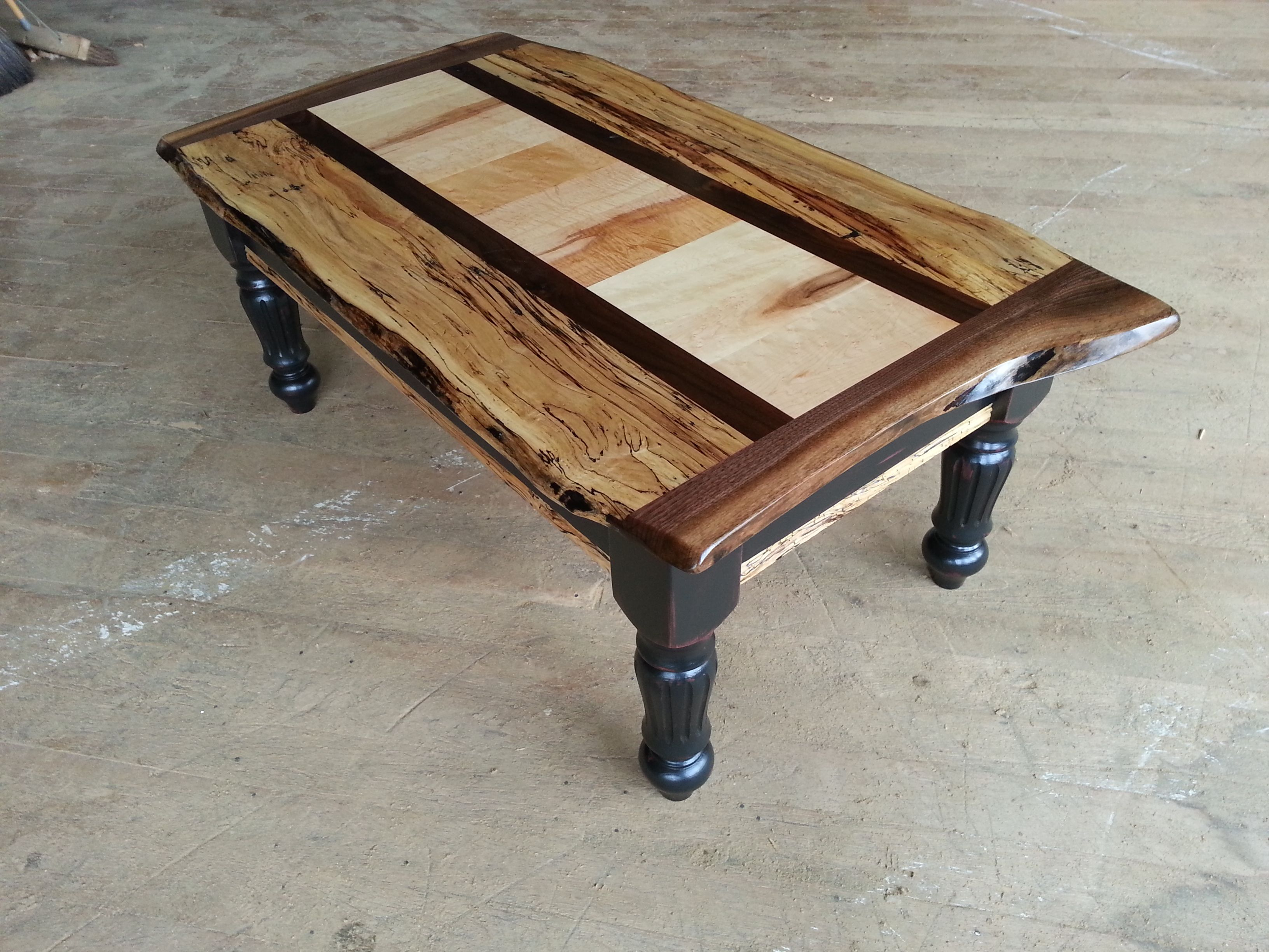 coffee table black over red base with spalted maple and black