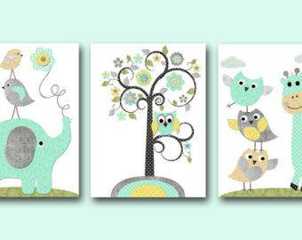 Kinder Wand Kunst Leinwand Kindergarten Print Elefant