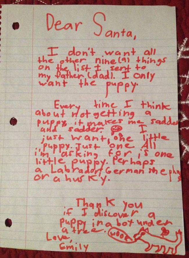 Little girl writes masterfully manipulative santa letter asking for little girl writes masterfully manipulative santa letter asking for a puppy spiritdancerdesigns Image collections