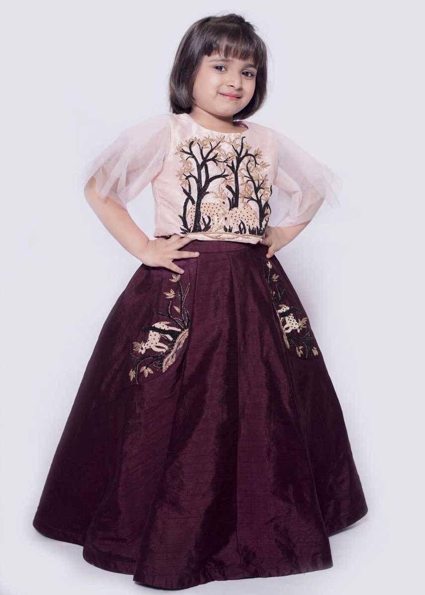 ca730faa481b08 Wine Brown Color Taffeta Silk Kids Lehenga Designs in 2019   Kids ...