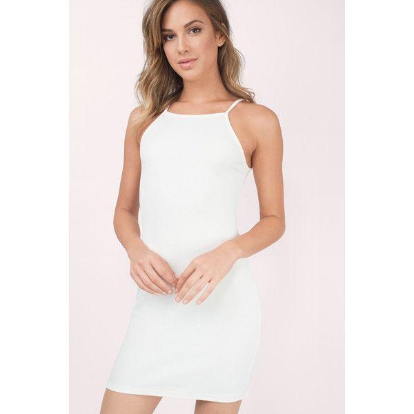 Tobi Double Mint Ribbed Dress ($40) ❤ liked on Polyvore featuring dresses, cream, body con dress, cream bodycon dress, bodycon dress, white body con dress and tobi dresses
