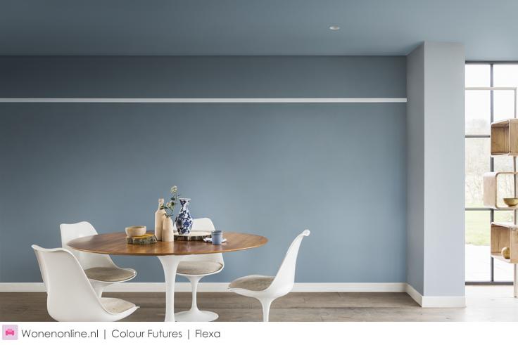 De kleur van is denim drift huiskamer kleuren interieur