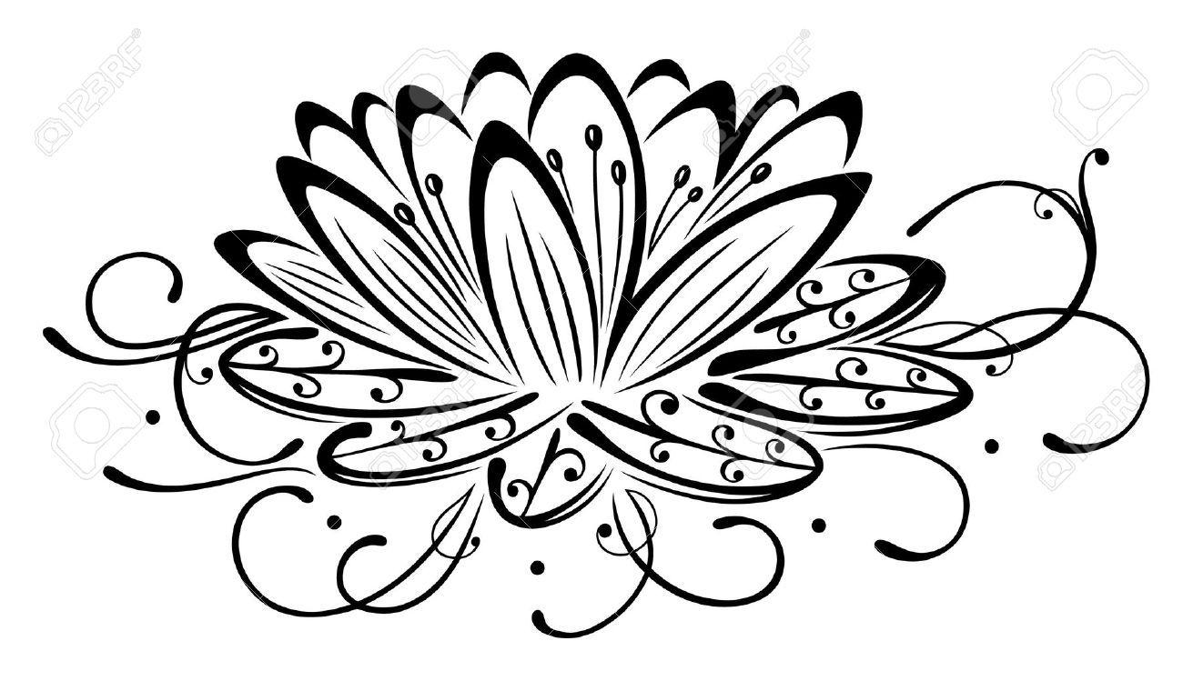 Filigree Lotus Flower Black Vector Royalty Free Cliparts Vectors