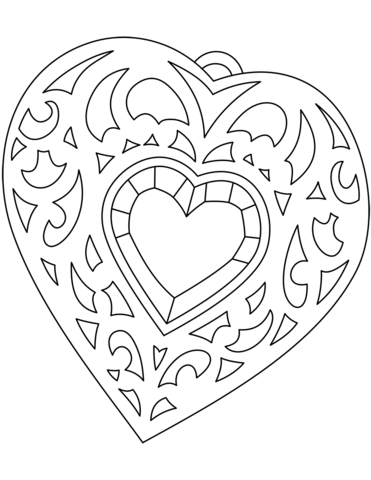 Heart Shaped Medallion Coloring Page Shape Coloring Pages Coloring Pages Heart Coloring Pages