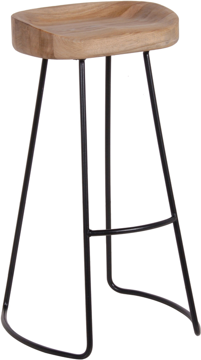 Tall Stool In Oak And Iron Metal Bar Stools Industrial Bar