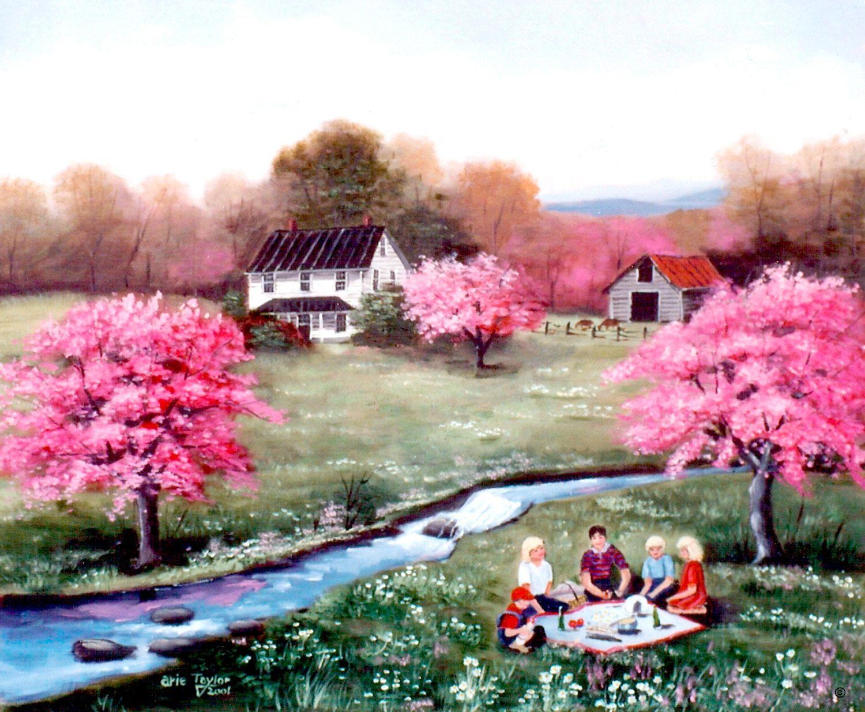 Country Scene The Picnic Pink Flowering Trees Stream White House Country Scene Barn Folk Art Print By Arie Reinhardt Taylor Pink Flowering Trees Folk Art Art