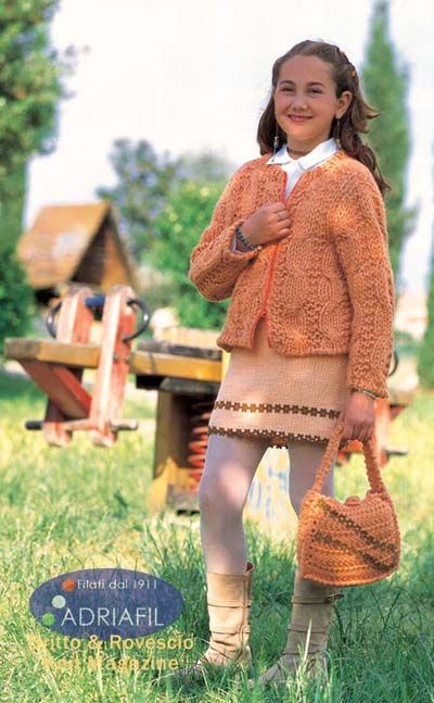 2e8c11a61b64d Free knitting pattern for a cabled girls jacket and matching skirt and bag.  Perfect for girls aged 7 to 8.