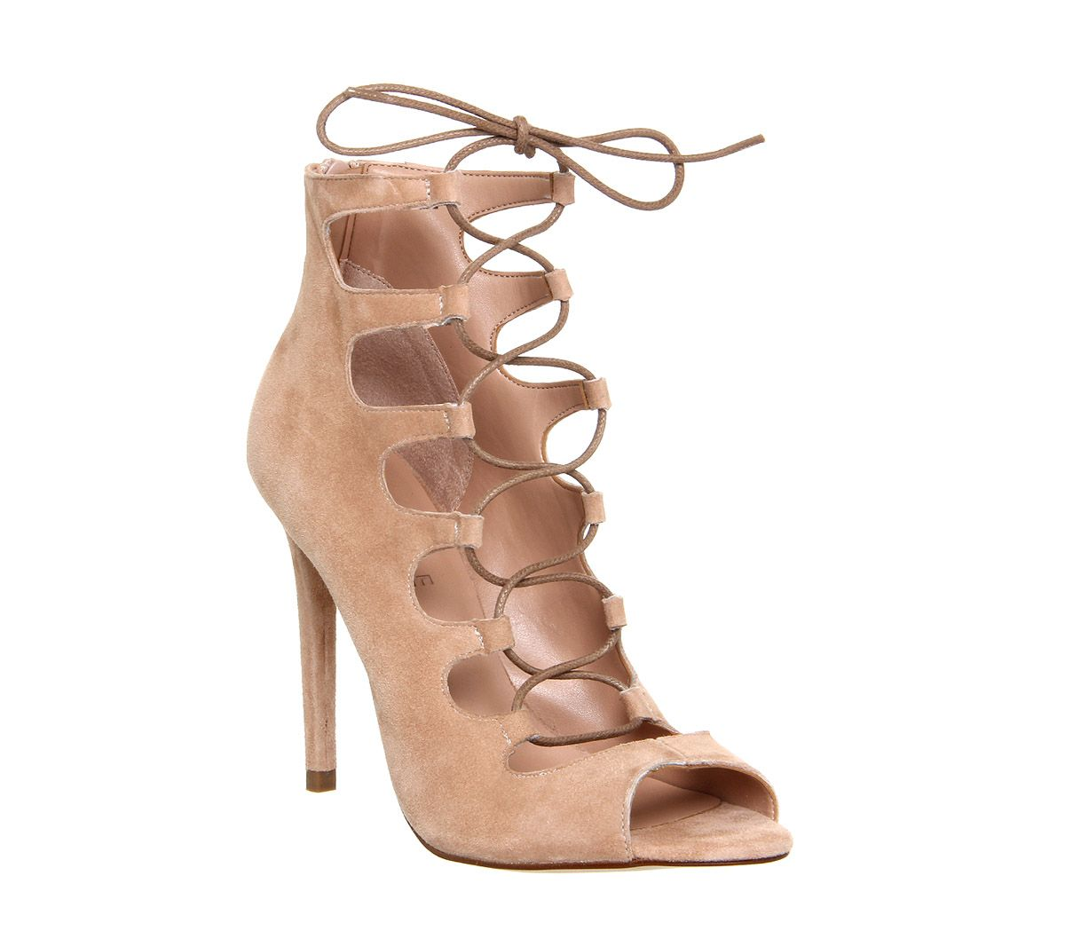Office Parisian Lace Up Ghillie Sandal Nude Kid Suede - High Heels