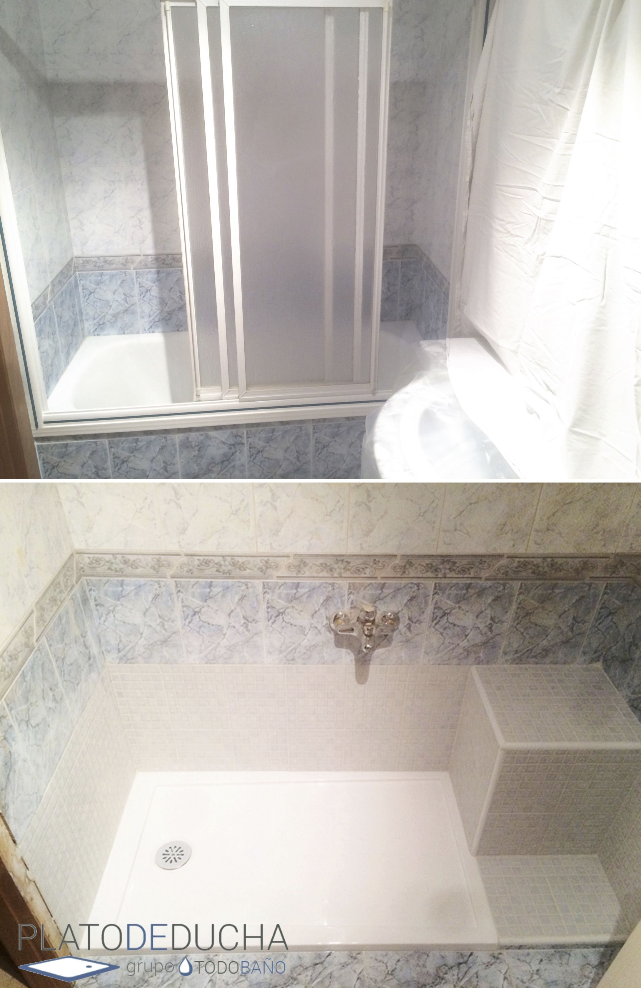 Cambio de ba era por un plato de ducha en el que adem s - Duchas con asiento ...