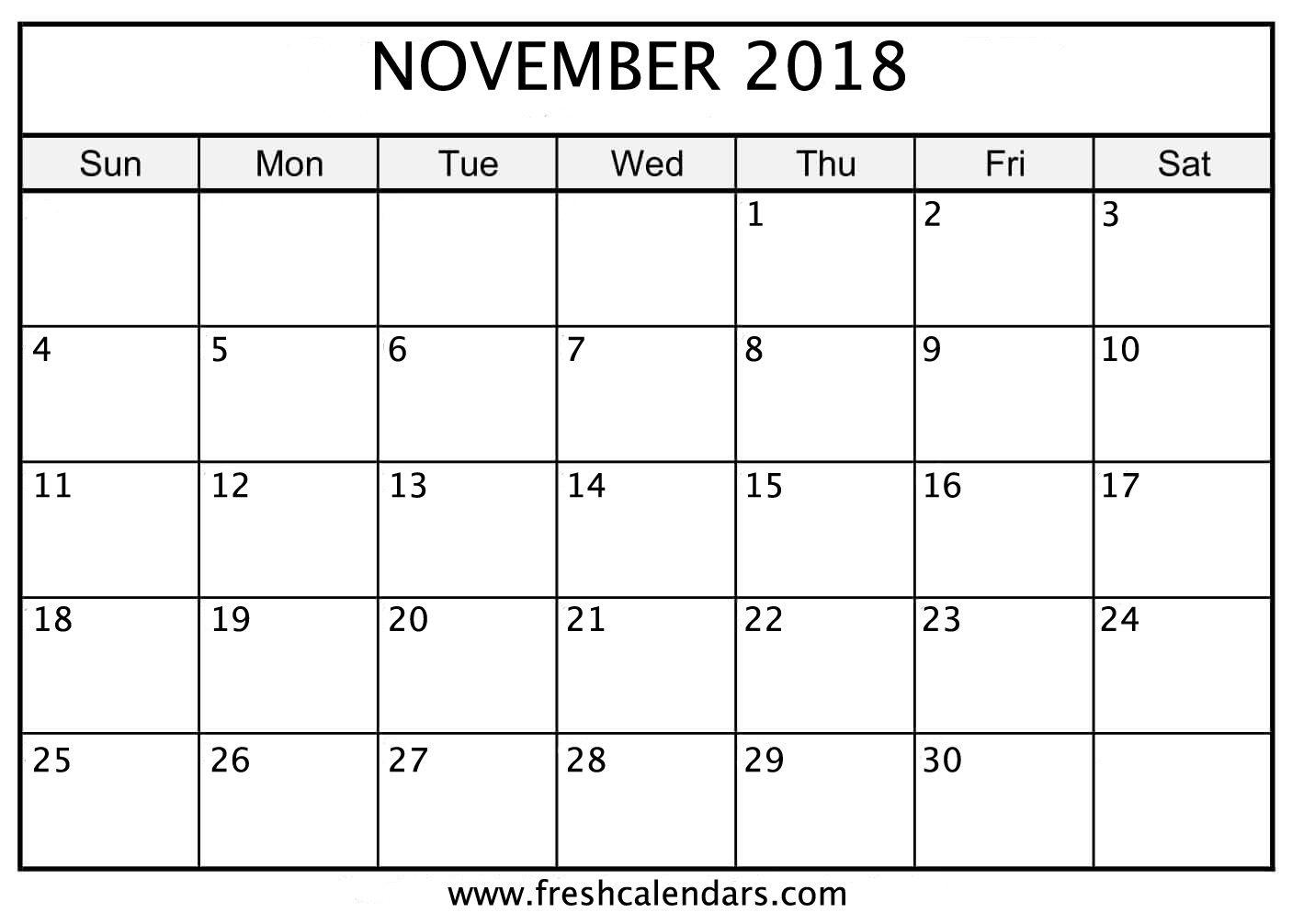 Printable Calendar November 2018 November Calendar Calendar