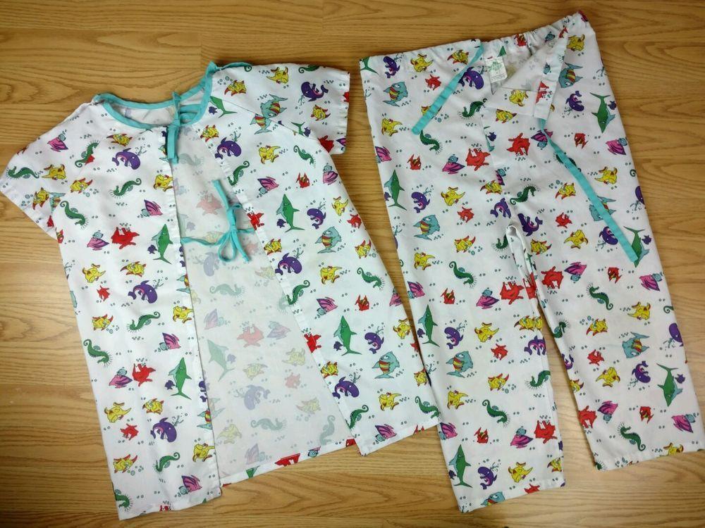 Kids Hospital Gown Scrubs Top Bottom Pediatric Apparel Ocean Theme ...