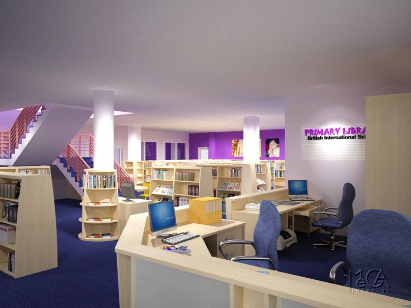 Library Interior Design Schools With Purple Carpet And