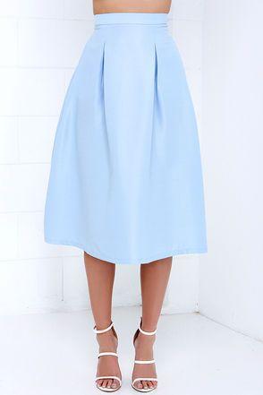 9c21b3faf Tiger Mist Bonnie Light Blue Midi Skirt | Meeting Outfits | Light ...