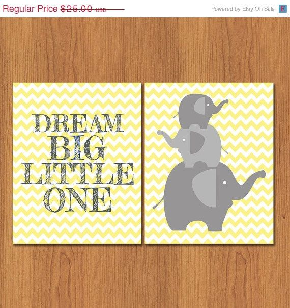 Dream Big Little One. Yellow Grey Elephant Nursery Decor Wall Art ...