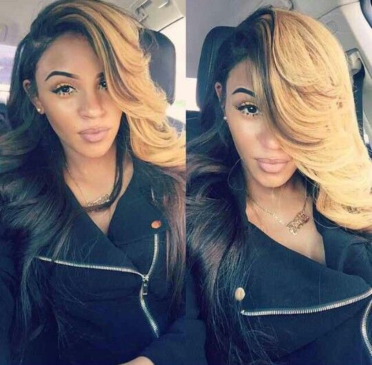 dyed hair sew in weave hairstyle