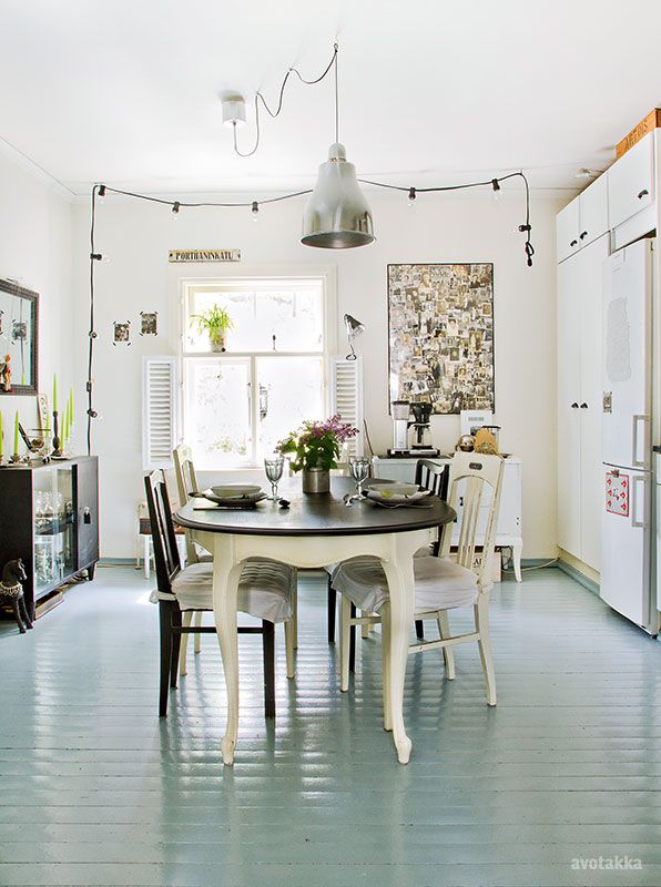 Painted wood floors......fromscandinaviawithlove A home in Finland. Photo from Avotakka.