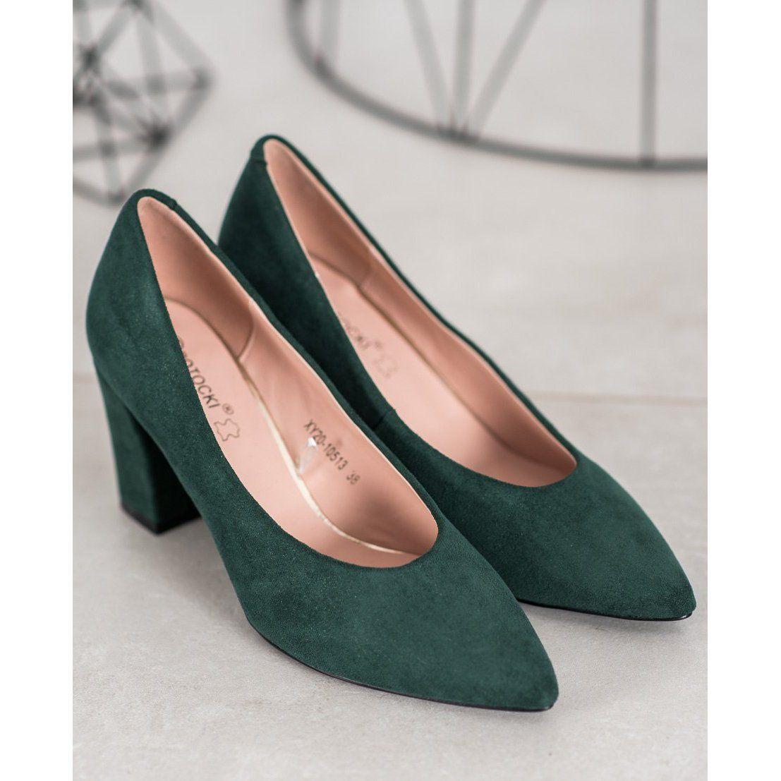 W Potocki Czolenka Z Brokatem Zielone Heels Pumps Shoes