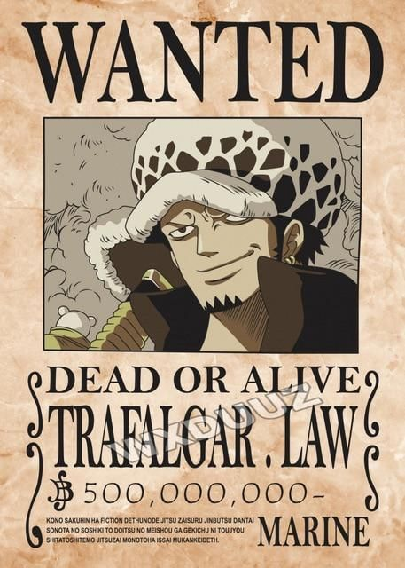 Posters One Piece Wanted Monkey D. Luffy Shanks Ace Gol D. Roger - Trafalgar D. Law