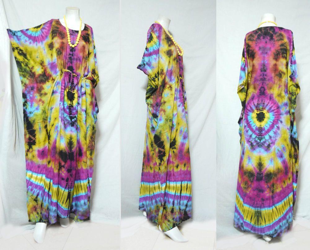 vtg HIPPIE BOHO thai handmade full rainbow tie dye kimono kaftan maxi dress 130