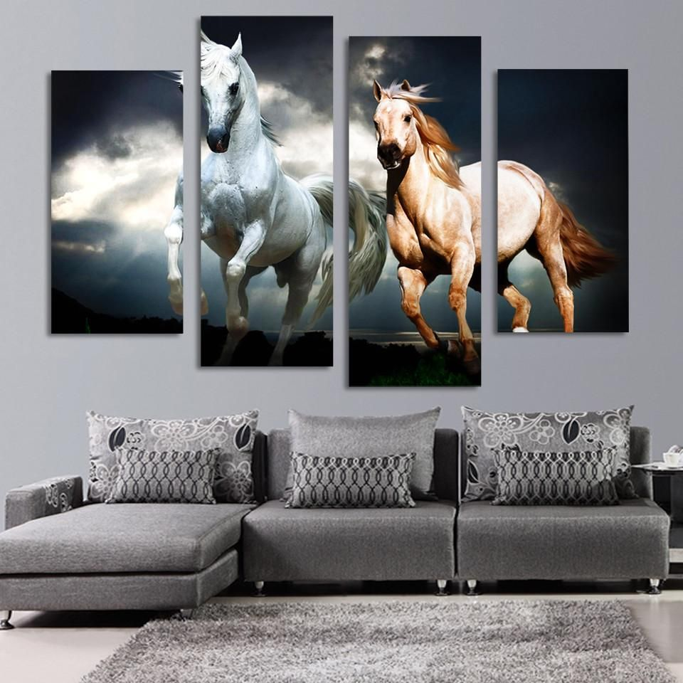 4 Pcs Running Horse Painting Canvas Arte De Pared Con Pale Pinturas De Animales Arte En Lienzo