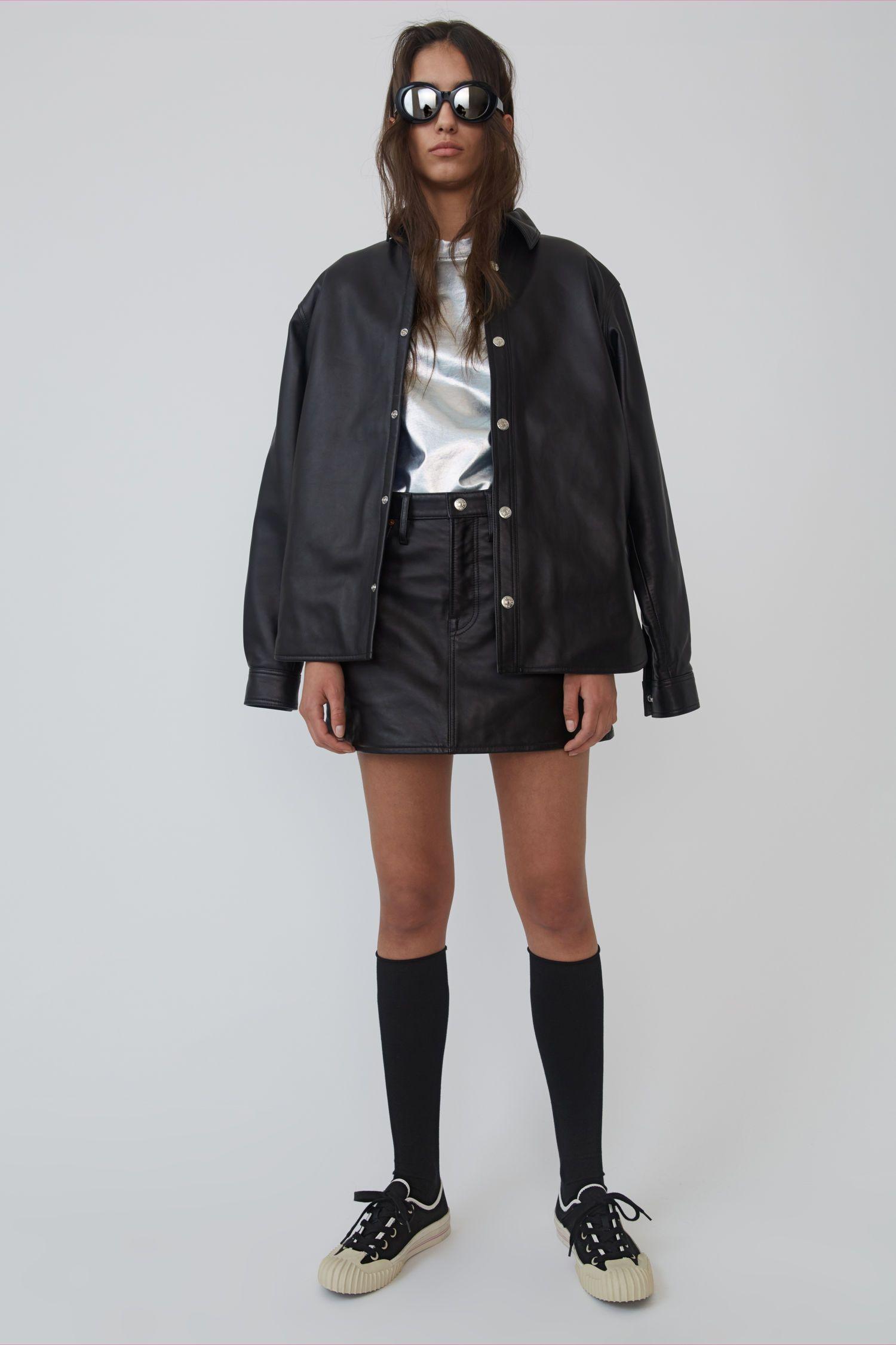 Acne Studios Leather Overshirt Black Black Well Dressed Acne Studios