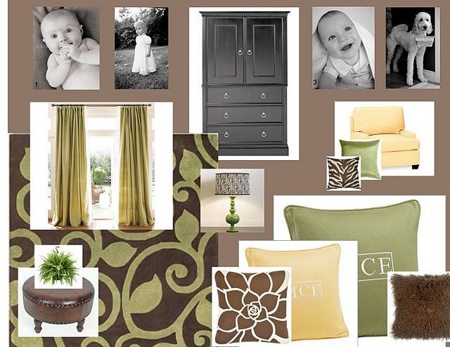 Green and brown inspiration for my living room now to - Brown and green living room accessories ...