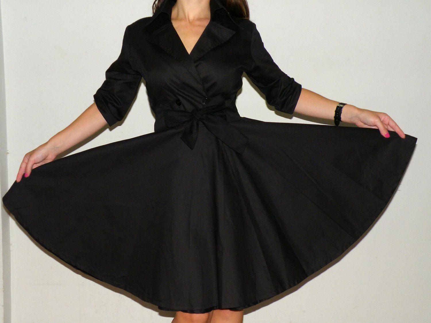 Womens Black Trench Coat Dress Full Circle skirt Bow Belted Cotton ...