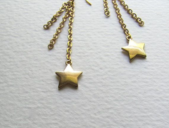 Shooting star dangle earrings 14k gold plate by MySoCalledVintage, $17.00