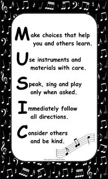 Music Room Rules Poster Freebie Music Class Rules Music