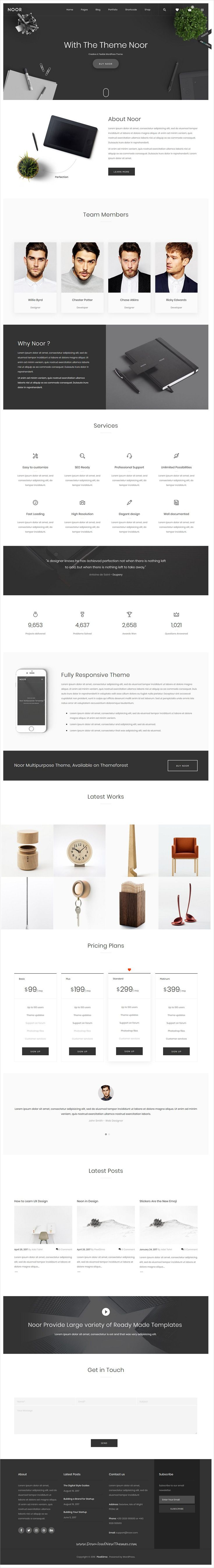 Noor is clean and modern design responsive multipurpose #WordPress theme for creative #agency website with 30+ niche homepage layouts to live preview & download click on Visit  #webdevelopment