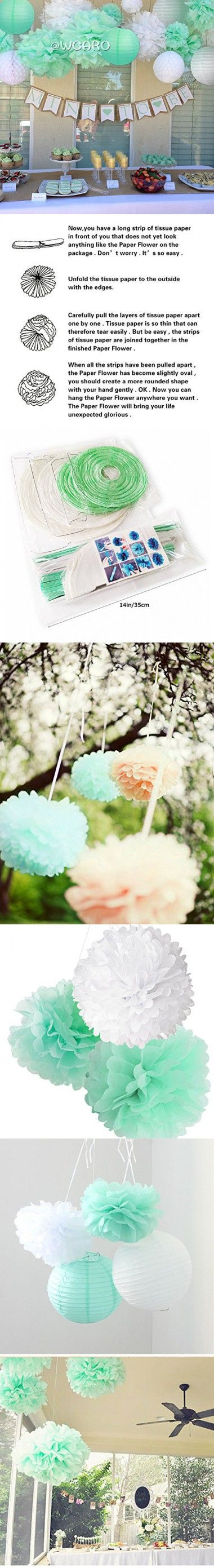 Mint To Be Wedding Decorations White Mint Tissue Paper Pom Poms ...