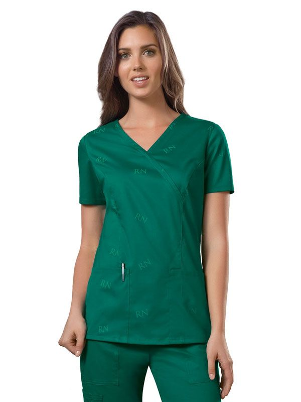 RN Hunter, WorkWear I.D. Scrubs by Cherokee Women's Mock Wrap Top | #nurse #
