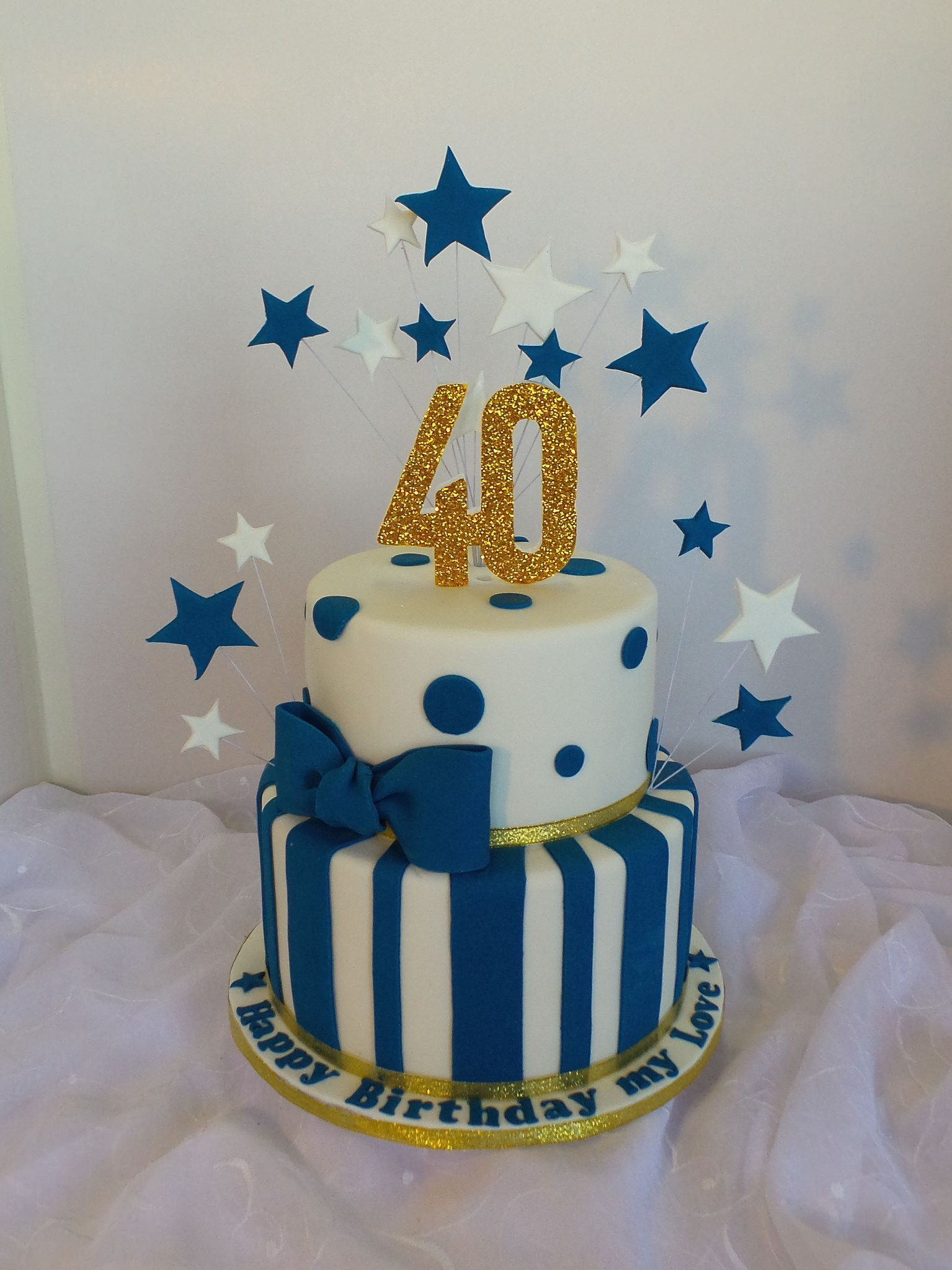 40th Two Tier White Navy Blue And Gold Birthday Cake In