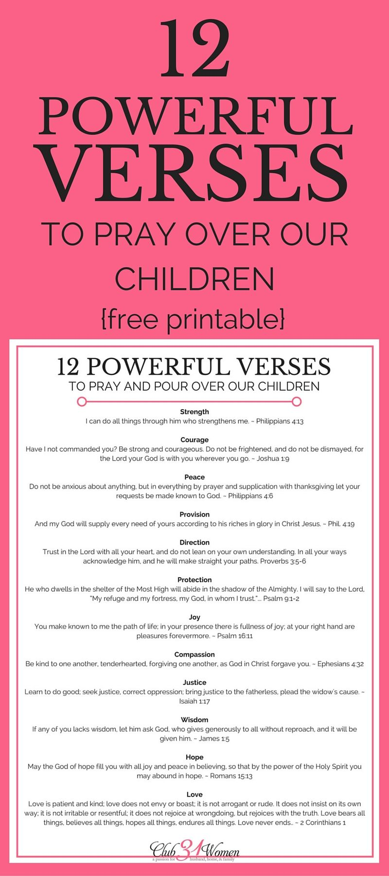 12 Powerful Verses to Pray Over Our Children {with free printable ...
