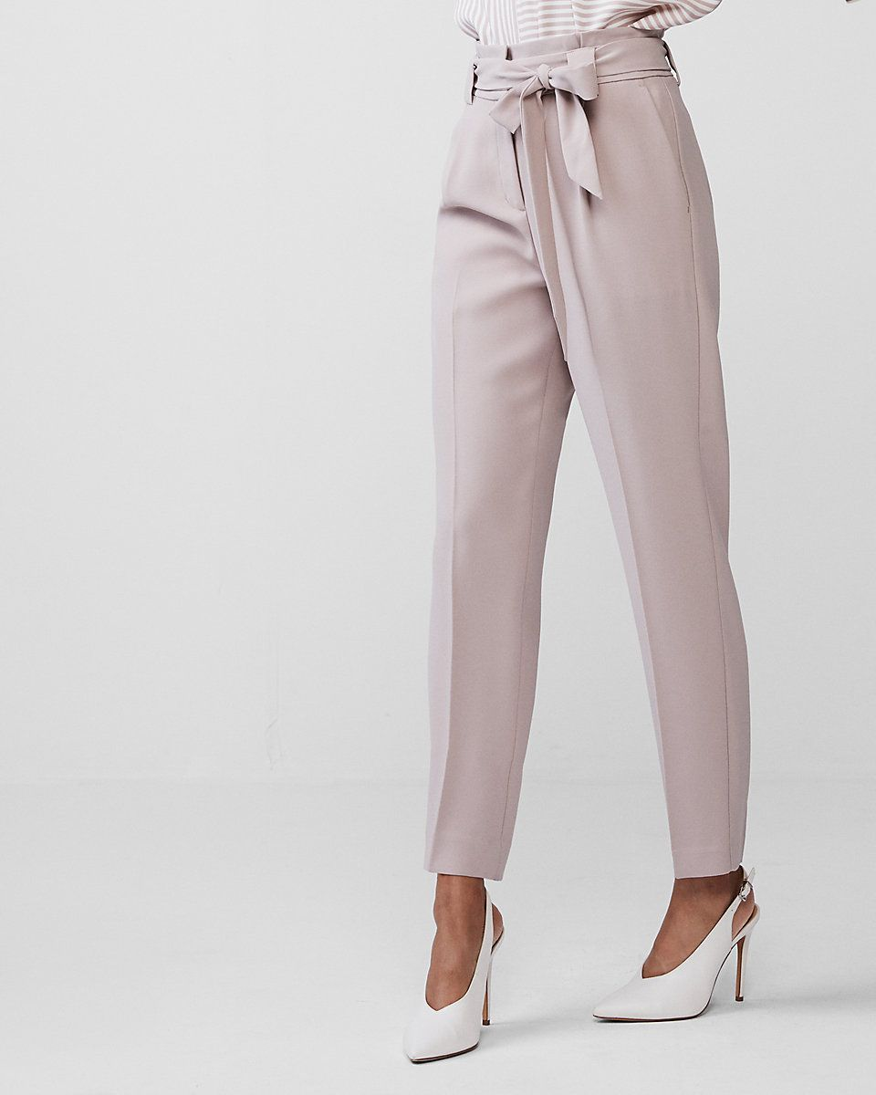 301f2a5cd1d13b Work Pants High Waisted Sash Tie Ankle Pant | Express | My Wardrobe ...