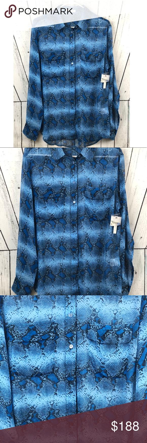 1e9f1756928f Equipment • 100% Silk Snakeskin Print Shirt Blue button down shirt by  Equipment. Snakeskin