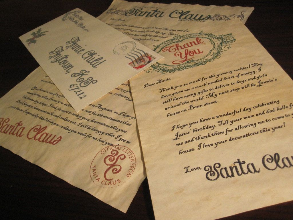 Santa Letter & Thank You Note from Santa Claus on Vintage