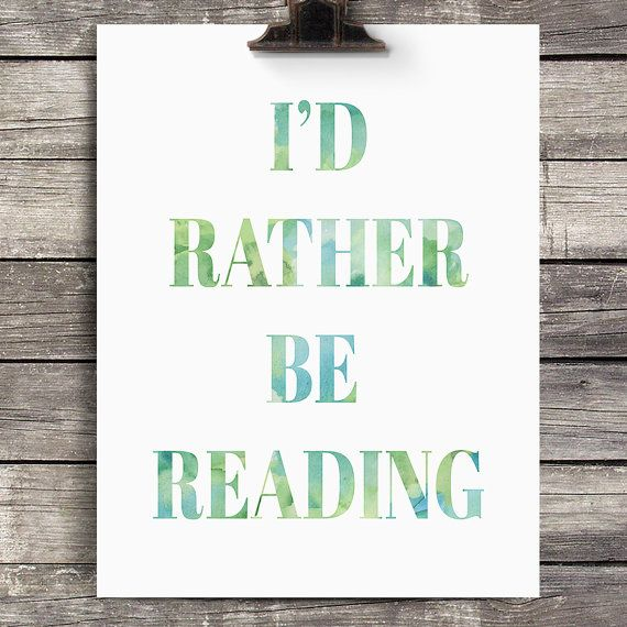 I'd Rather Be Reading Printable Watercolor by WinterFoxWorkshop