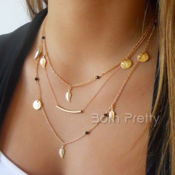 Fashion Collier Big Metal Leaf Pendentif Déclaration Femmes Collier les colliers collier