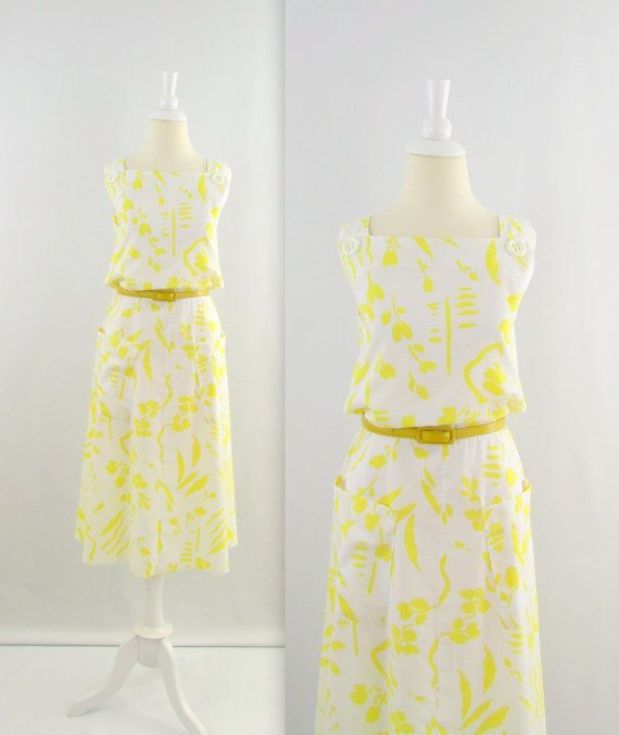 Vintage Aline Cotton Dress in White+Yellow print #vintage #dress #summer #yellow #twomoxie