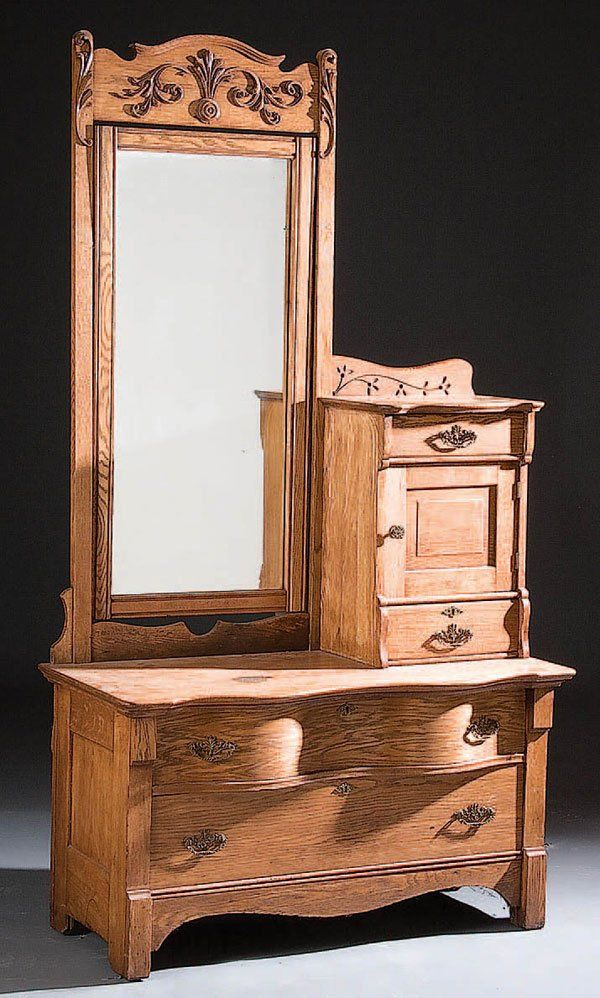 Antique Oak Dresser With Mirror And Hat Box 1116 A