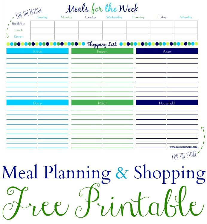 Meal Plan \ Shopping List Printable Shopping lists, Meals and - printable shopping list