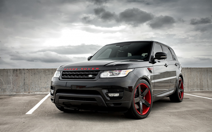 Download Wallpapers Land Rover Range Rover Sport 2017 Black Suv Tuning Black Red Wheels Niche Wheels Besthqwallpapers Com Range Rover Black Range Rover Land Rover