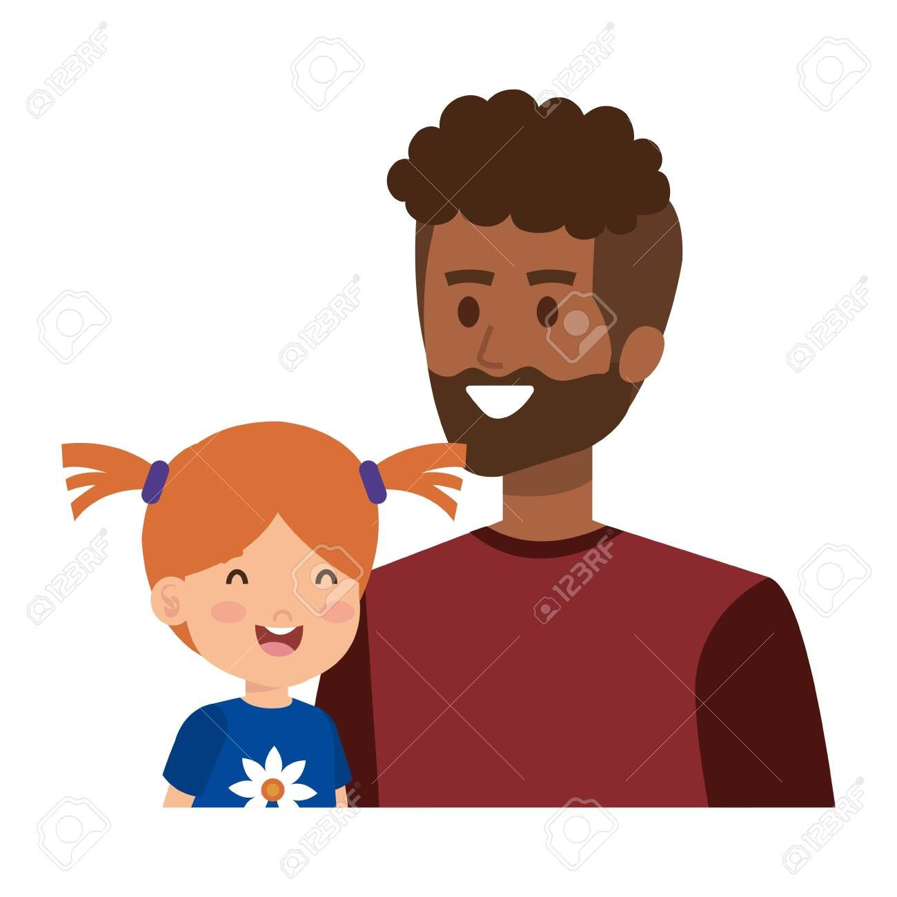 afro father with daughter characters vector illustration design ,