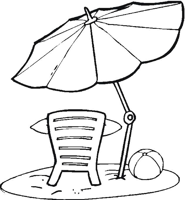 Beach Umbrella Coloring Pages AZ
