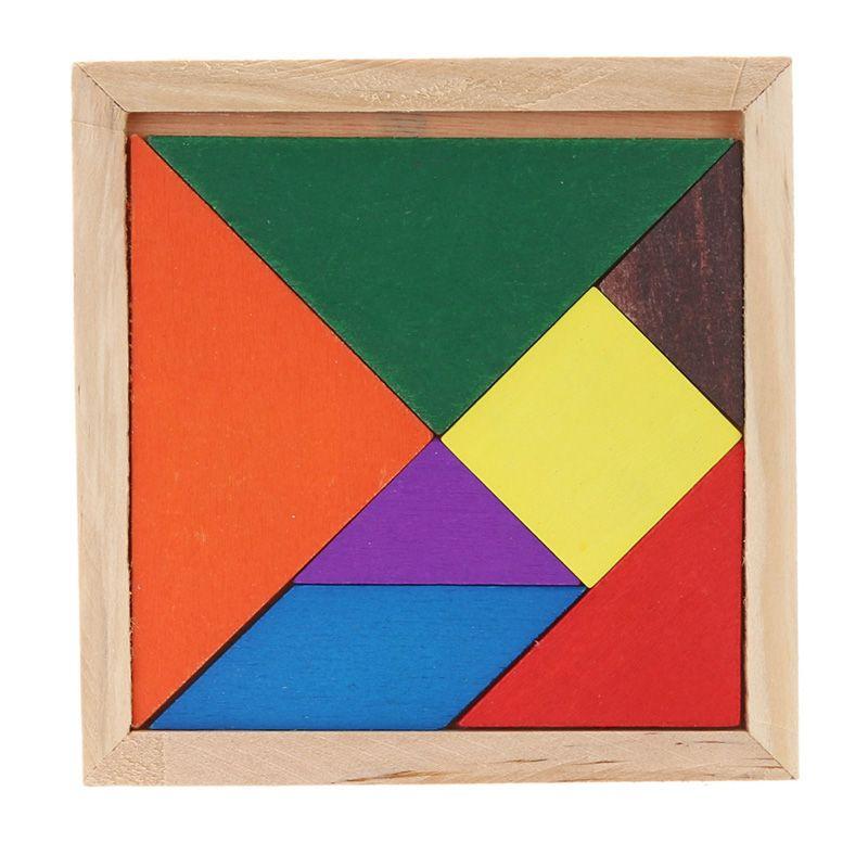 Child Baby Wooden Tangram Brain Teaser Puzzle Educational Developmental Kids Toy